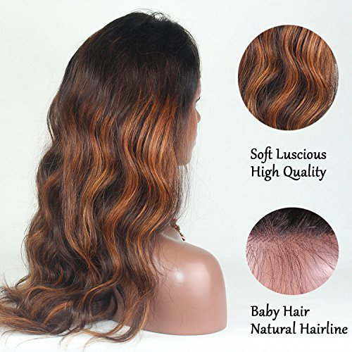 RosesAngel Ombre Human Hair Wig for Black/White Women Body Wave Brazilian Glueless Lace Front Human Hair Wigs With Baby Hair 22''Full Lace Wig