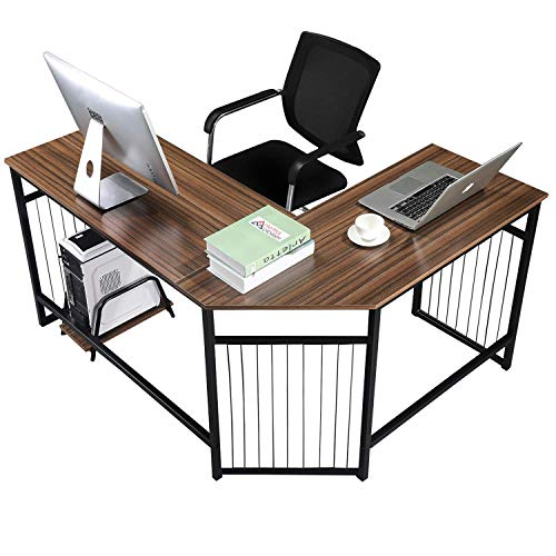 GreenForest L Shaped Corner Desk Large Computer PC Laptop Table Workstation Home Office, Walnut ()