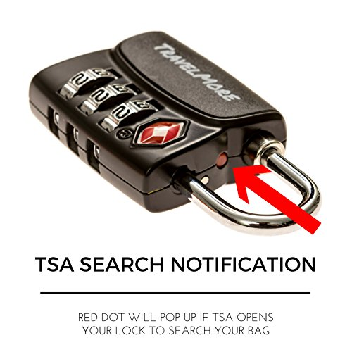 6 Pack Open Alert Indicator TSA Approved 3 Digit Luggage Locks for Travel Suitcase & Baggage (Black) by TravelMore (Image #3)