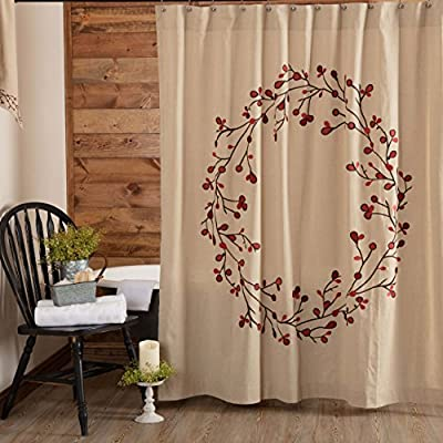 "Piper Classics Twig & Berry Vine Shower Curtain, 72"" x 72"", Beige w/Embroidered Berries, Farmhouse Country Primitive Bathroom Décor - A Piper Classics Original. Designed by and Available Exclusively from Piper Classics. 72"" x 72"", 1.5"" header with 1"" button holes and 3"" rod pocket, unlined 100% cotton beige chambray fabric, embroidered brown twigs and dusty berries - shower-curtains, bathroom-linens, bathroom - 51RLo5yP5VL. SS400  -"