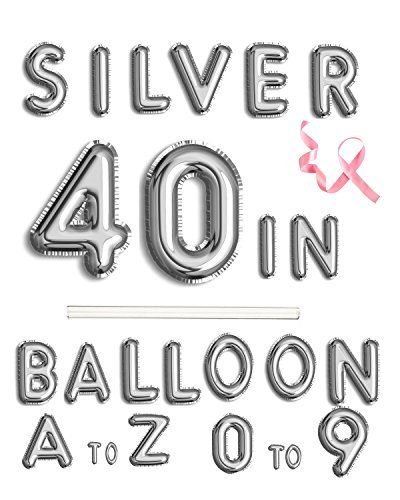Rose&Wood 40 Silver Alphabet Letter Balloons Aluminum Hanging Foil Film Balloon Mylar Balloons Party Decoration(40,Letter I)