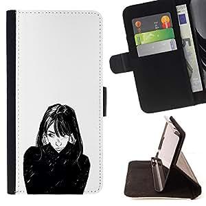BullDog Case - FOR/Sony Xperia m55w Z3 Compact Mini / - / GIRL PORTRAIT BLACK WHITE FACE HAIR ART /- Monedero de cuero de la PU Llevar cubierta de la caja con el ID Credit Card Slots Flip funda de cuer