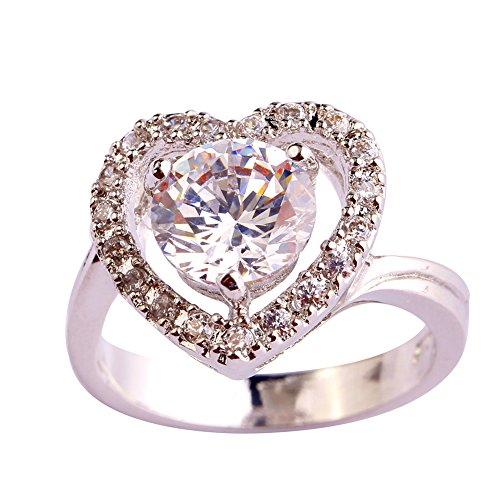 Psiroy 925 Sterling Silver Simple Cute Round Cut White Heart Love Promise Filled Ring for Women (Gold Twin Octagon Ring)