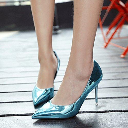 azul la mujeres fiesta las del zapatos corte tacón del de de vestido altos zapatos tacones de oficina bomba del nupcial de charol señoras boda Wealsex dedo sexy de puntiagudo pie aguja tq4AOTEwxW