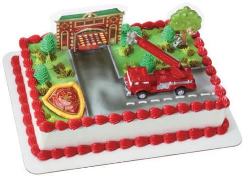 CakeDrake FIRETRUCK Fire Truck ENGINE Station BIRTHDAY Party CAKE Topper Decoration Set -