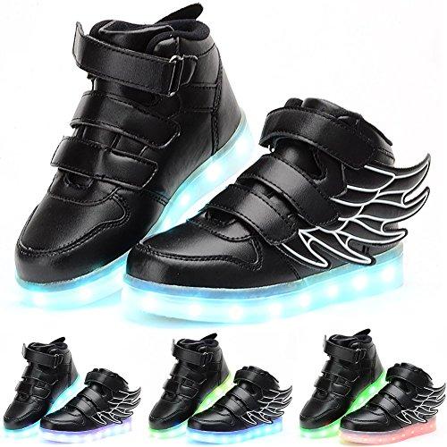 Odema Zapatos de luz LED de cana alta con alas unisex para nino Negro