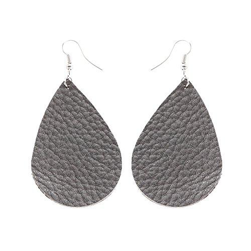 Grey Teardrop Earrings - TIDOO Jewelry Women Fashion Teardrop Leather Earring (Grey)