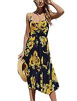 Exlura Women's Dresses Summer Floral Sundress Swing Beach Dress with Pockets