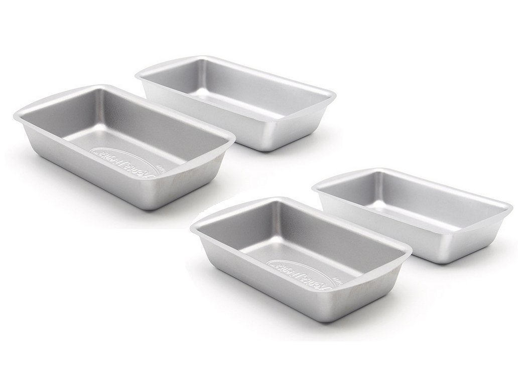 Astra Gourmet Commercial Grade Nonstick Carbon Steel Mini Loaf Pan Set, 4 Count(5 1/2''x3''x1'')