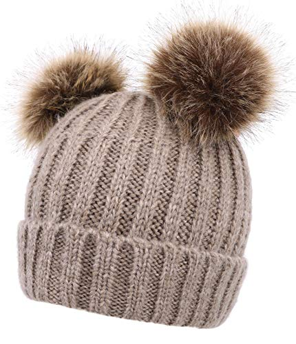 AbbyLexi Women's Winter Ski Knit Warm Fleece Beanie Hat w/Double Fur ()