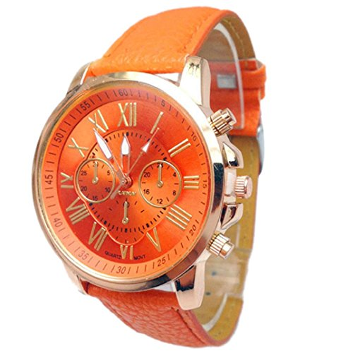 Binmer(TM)Women Geneva Numerals Faux Leather Analog Quartz Wrist Watch (Orange)