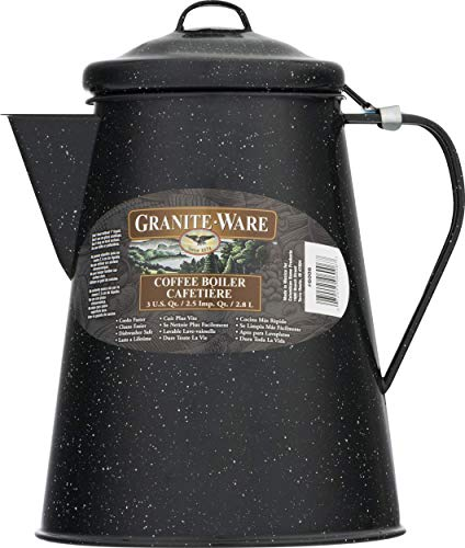 Columbian Home Granite Ware Coffee Boiler Ceramic On Steel Black 100 Oz