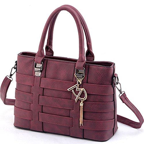 Vincico Women PU Leather Top Handle Bags Satchel Handbags (Wine Red)