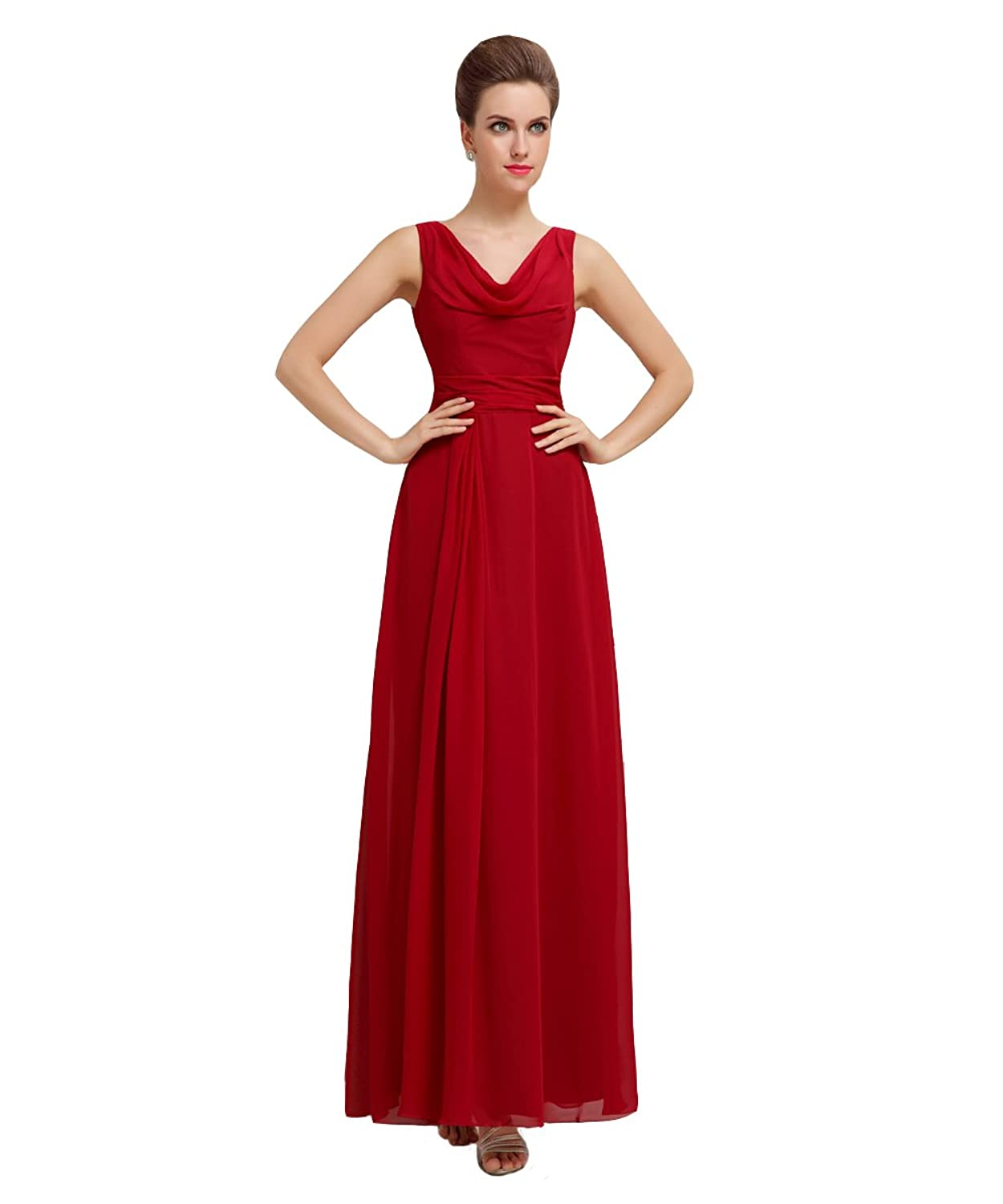 YesDress Women Unique A-line Pleating Off Shoulder Chiffon Long Red Bridesmaid Dresses
