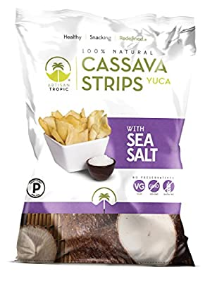 Artisan Tropic Cassava Strips, Sea Salt, Cooked in Sustainable Palm Oil, Paleo Certified, 4.5 Oz, (2 Pack)