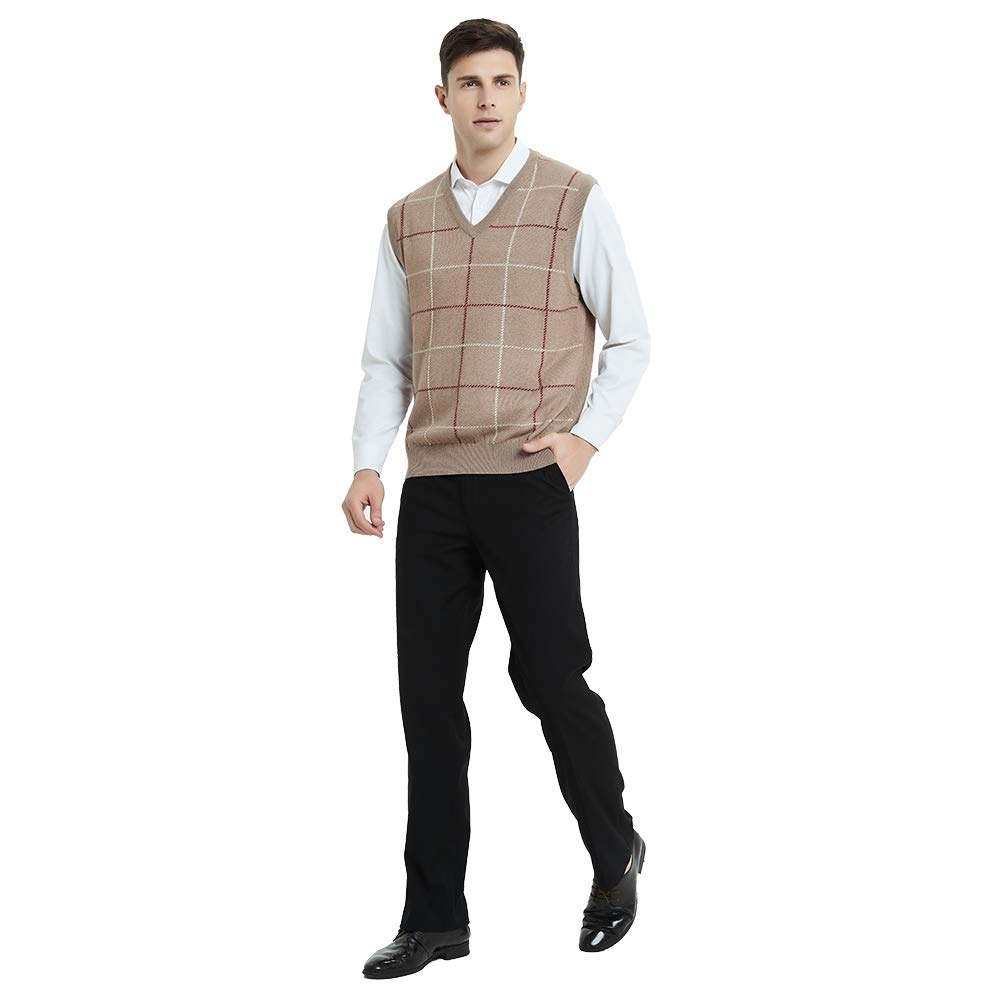 Kallspin Mens Plaid Sweater Vest Cashmere Blend Relaxed fit Knit V-Neck Pullover Knitwear