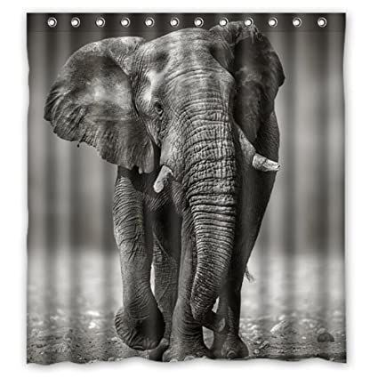 Black And White Style Old Elephant Shower Curtain