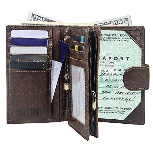 RFID Blocking Genuine Leather Passport Wallet (Chocolate)