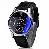 Winhurn Luxury Classic Faux Leather Blue Ray Quartz Analog Men Wrist Watch (Black)