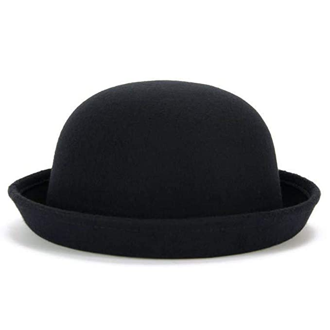 41cf0ad4880fa Lujuny Trendy Wool Bowler Hats for Women - Cute Derby Caps with Roll-up Brim