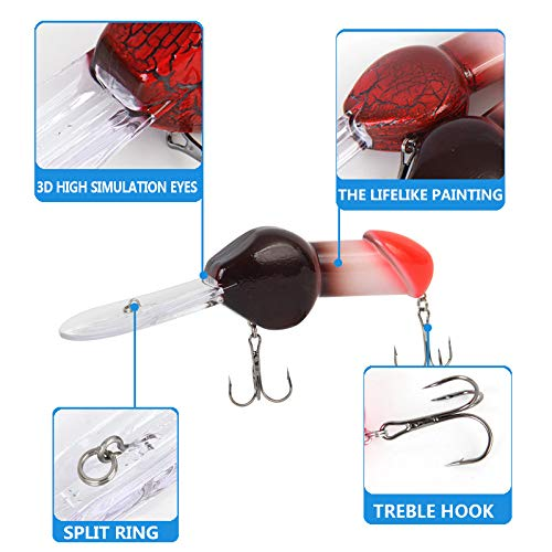 ZZWIF Fishing Lure Fishing Tackle Penis Dick Diving Funny Rattle Spinner Bass 1 Pcs