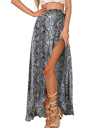 GIKING Women's Summer Skirts, Snake Printed High Waist Long Beach Skirts White-Snake S
