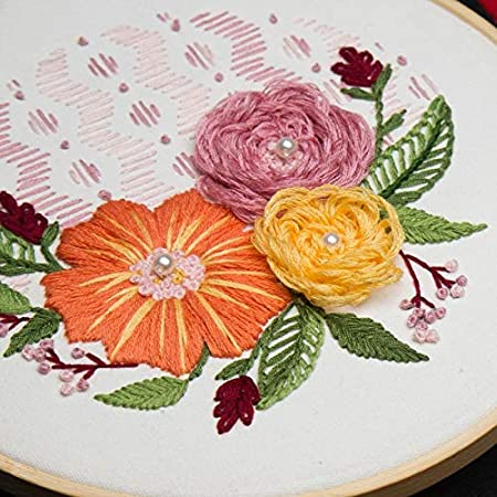 Stamped Embroidery Kit for DIY Beginner Starter Stitch Kit for Art Craft Handy Sewing Including Color Pattern Embroidery Cloth,Embroidery Hoop,Color Threads,Tools Kit /…