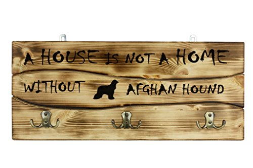 Afghan Hound, a wooden wall peg, hanger with the picture of a dog (Afghans Picture)