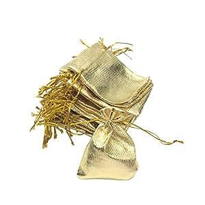 HUELE 50PCS 7X9CM Gold Color Metallic Foil Organza Pouches Christmas Wedding Party Favour Gifts Candy Bags
