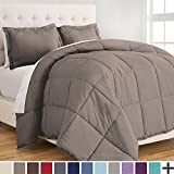 Ultra-Soft Premium 1800 Series Goose Down Alternative Comforter Set - Hypoallergenic - All Season - Plush Fiberfill, Twin Extra Long (Twin XL, Taupe)