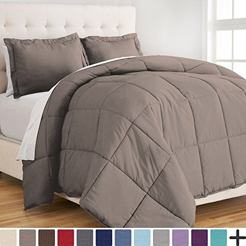 Ultra-Soft Premium 1800 Series Goose Down Alternative Comforter Set – Hypoallergenic – All Season – Plush Fiberfill, Twin Extra Long (Twin XL, Taupe)