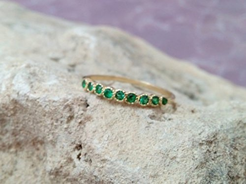 Emerald Ring, May Birthstone Ring,Gemstones Ring,Stack Stacking Ring,Gold Ring, Green Ring, Dainty Ring, Tiny Ring Emerald Spinel Ring