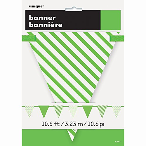12ft Lime Green Polka Dot and Striped Pennant Banner ()