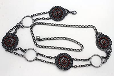 TFJ Women Fashion Belt Hip Waist Antique Silver Metal Chains Brown Flower Beads S M L