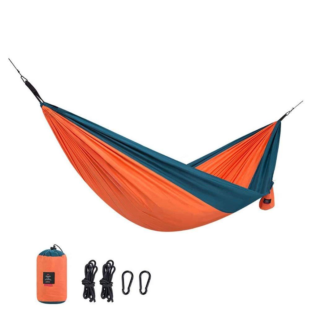 Zmsdt ダブル/シングルキャンプ ハンモック/吊り下げストラップセット アウトドア 旅行 ベッド ハンモック ハイキング ビーチ アクセサリー 290*180cm オレンジ B07GPX1N61
