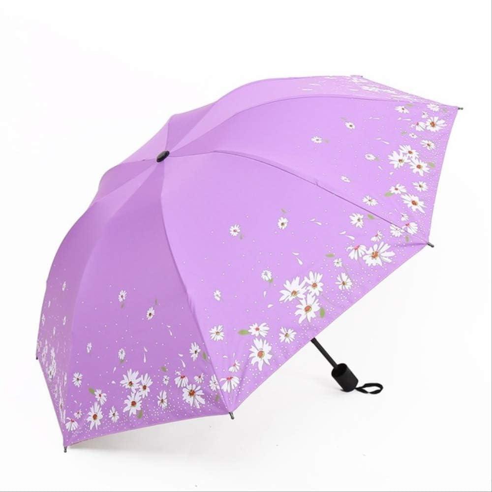 WINTER Paraguas Daisy Rain Lady Paraguas Paraguas Plegable Lady Parasol Paraguas Negro a Prueba de Viento púrpura