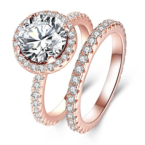 (3 Carat Round CZ Solitaire 2 Pieces Engagement Ring Set for Women, Halo Style Rose Gold Plated Size 7)