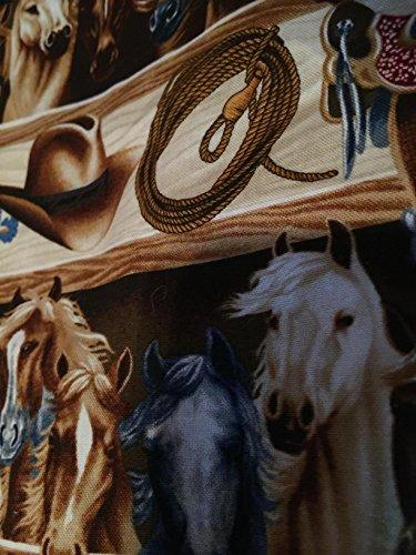 Western Horses Barn Saddle Rope Saddle Cotton Window Curtain Valance handmade 42″W x 15″L FABRIC