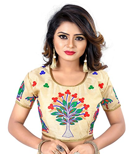 Womens Banglori Silk Heavy Embroidery Work Stitched Floral Golden Saree Blouse Crop Top