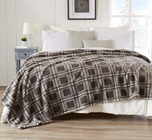 Ultra Soft, Cozy Plaid Sherpa Stretch Knitted Bed Blanket. Lightweight, Elegant, Chic Blanket for Sleeping. (King, Dark ()