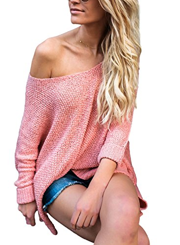 - ZKESS Womens Loose Long Sleeve Knitted Oversized Sweaters Pullovers Top Pink S