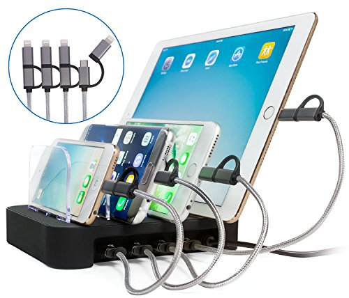 NeoBitnix USB Charging Station Dock - 4 Port 34W with Charger Cables, Desktop Organizer USB Docking Charger Hub Stand for Multiple Mobile Devices, Cell Phones, Tablets, iPhone, iPad, Samsung, Android (Hill Telephone Stand)