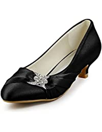 Women Closed Toe Comfort Heel Rhinestone Satin Wedding...