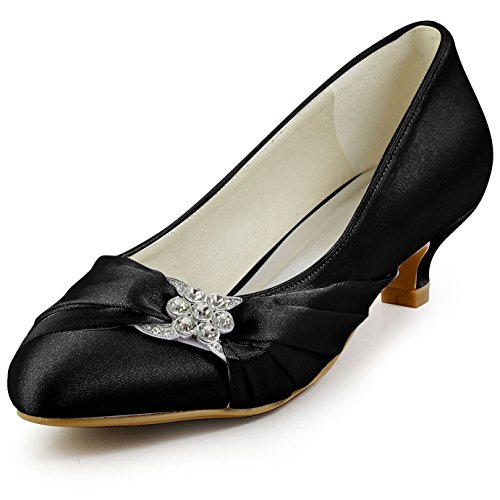 ElegantPark EP2006L Women Comfort Low Heel Closed Toe Rhinestone Satin Bridal Wedding Shoes Black US 9.5