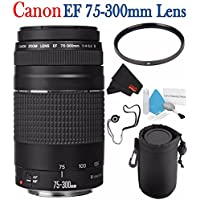 6Ave Canon EF 75-300mm f/4-5.6 III Telephoto Zoom Lens 6473A003 + 58mm UV Filter + Lens Cap Keeper + Deluxe Lens Pouch + Deluxe 3pc Lens Cleaning Kit Bundle