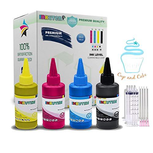 INKUTEN - 4 Botellas de tinta Comestible de 100ml para usar con impresoras.