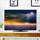 Auraisehome tv Protective Cover Decor Apocalyptic Sky View End of The World Majestic Mystic Sky Solar Flames tv Protective Cover W36 x H60 INCH/TV 65''