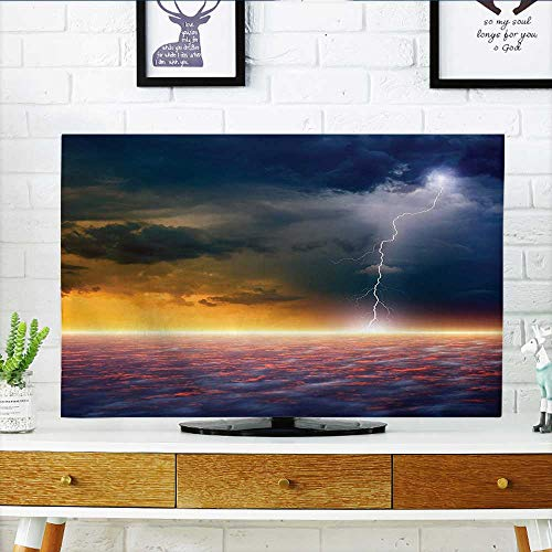 Leighhome Protect Your TV Apocalyptic Sky View End of The Sky Solar Flames Orange Blue Protect Your TV W20 x H40 INCH/TV 40''-43'' by Leighhome