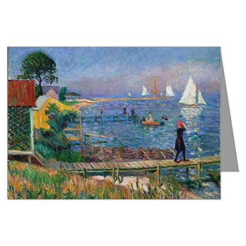 - 12 Assorted Note Cards of William Glackens Ashcan School Impressionist Oil Painting Titles include Bathers at Bellport, Green Car,Plus 4-more in a 3.5x5 inch Boxed Set