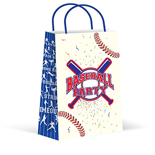 LARZN Premium Baseball Party Bags, Treat Bags, New, Gift Bags,Goody Bags, Baseball Party Favors, Baseball Party Supplies, Sports Decorations, 12 Pack by LARZN